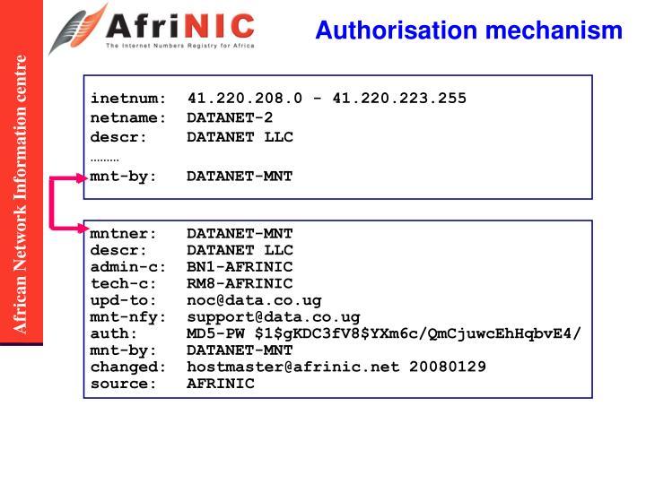 Authorisation mechanism