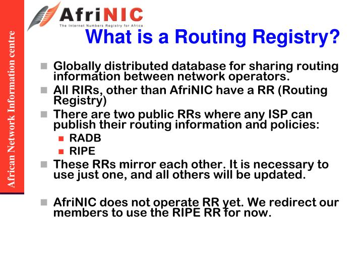 What is a Routing Registry?