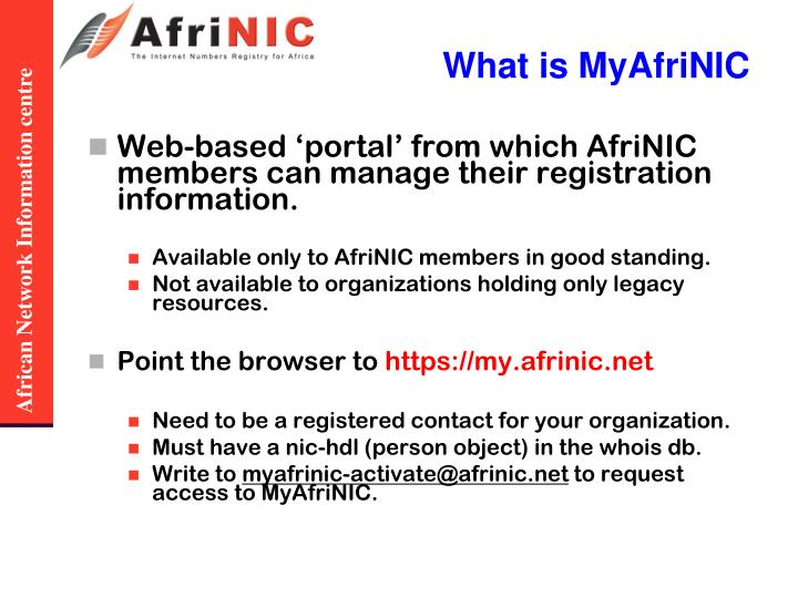 What is MyAfriNIC