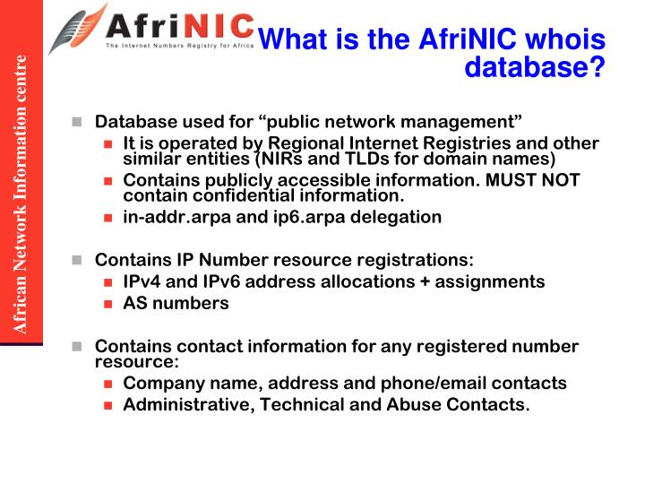 What is the AfriNIC whois database?