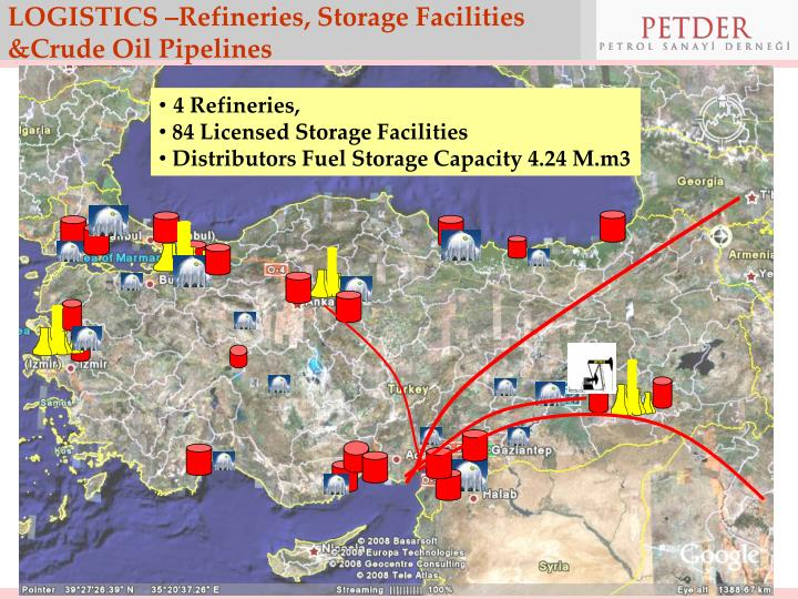 LOGISTICS –Refineries, Storage Facilities &Crude Oil Pipelines