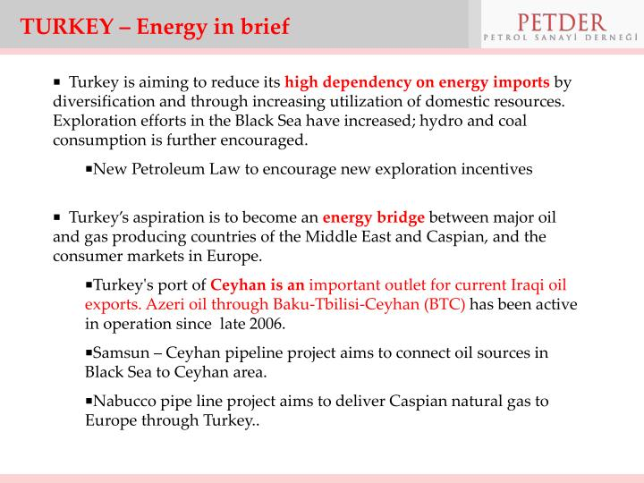 TURKEY – Energy in brief