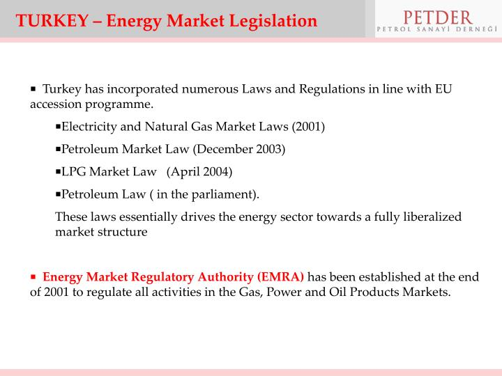 TURKEY – Energy Market Legislation