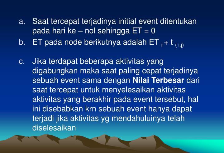 Saat tercepat terjadinya initial event ditentukan pada hari ke – nol sehingga ET = 0