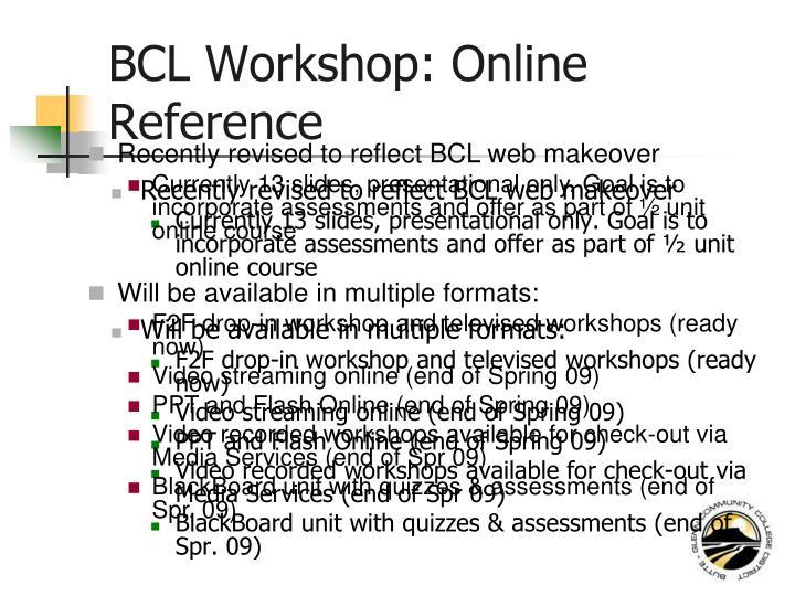 BCL Workshop: Online Reference