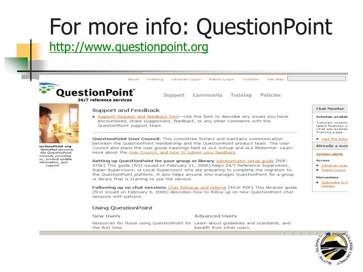 For more info: QuestionPoint