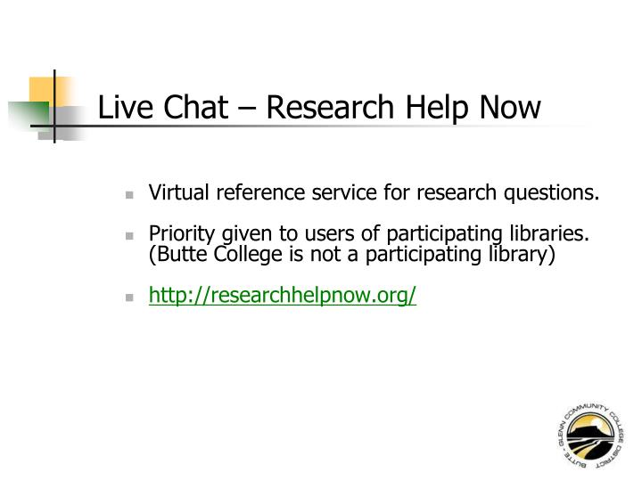Live Chat – Research Help Now
