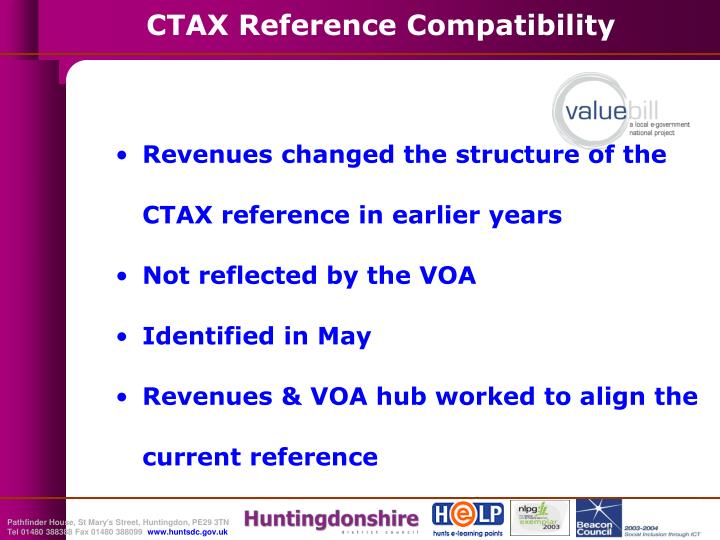 Revenues changed the structure of the CTAX reference in earlier years