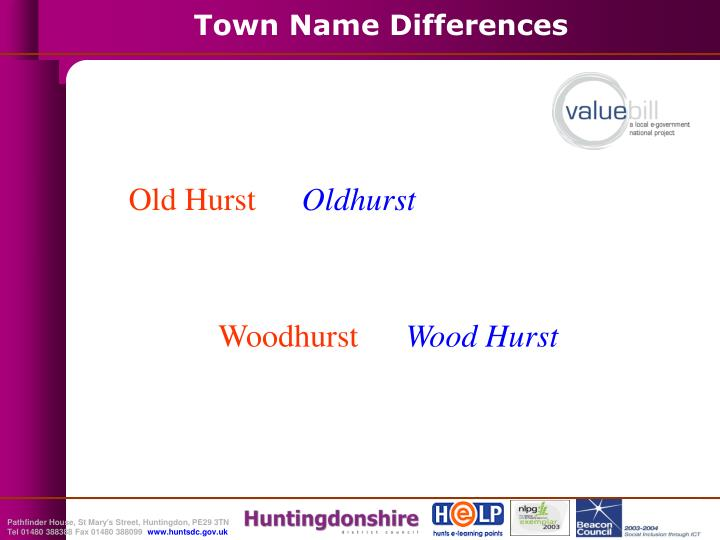 Town Name Differences