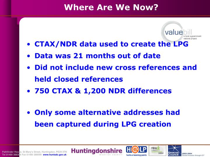 CTAX/NDR data used to create the LPG