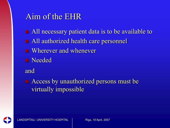 Aim of the EHR