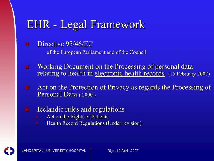 EHR - Legal Framework