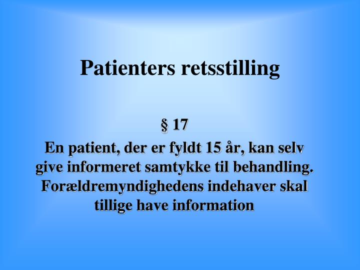 Patienters retsstilling