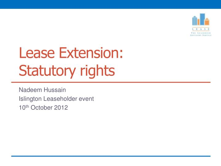Lease Extension: