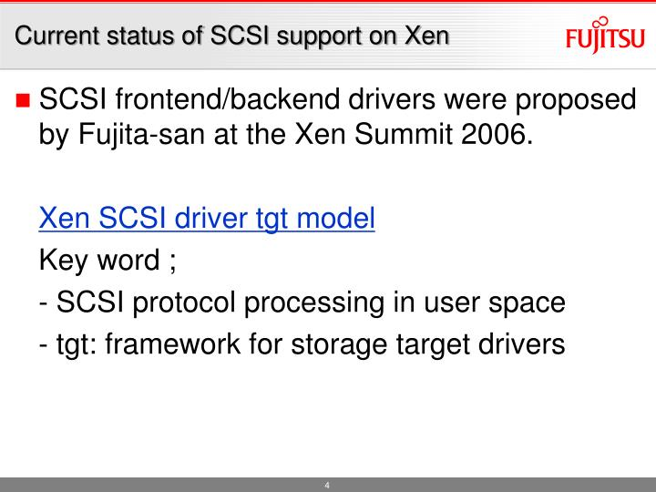 Current status of SCSI support on Xen