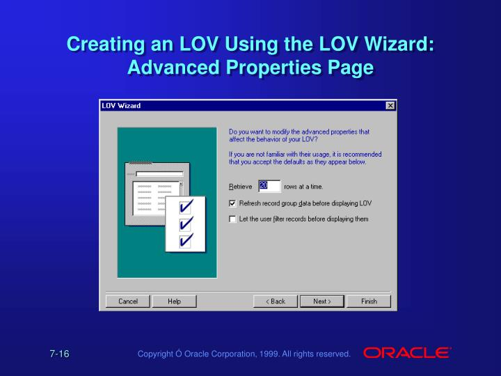 Creating an LOV Using the LOV Wizard: Advanced Properties Page