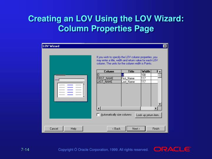 Creating an LOV Using the LOV Wizard: Column Properties Page