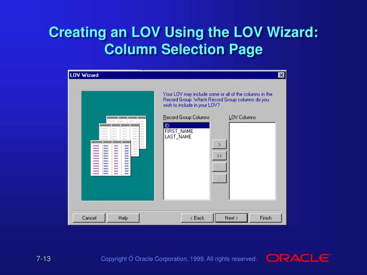 Creating an LOV Using the LOV Wizard: Column Selection Page