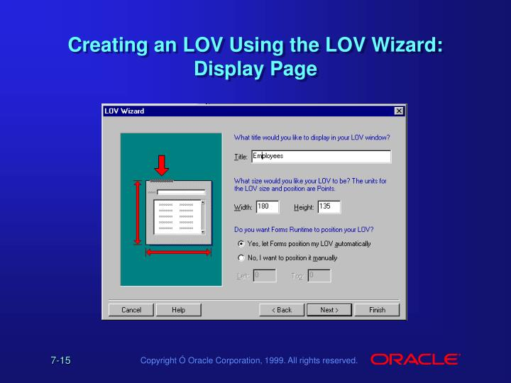 Creating an LOV Using the LOV Wizard: Display Page