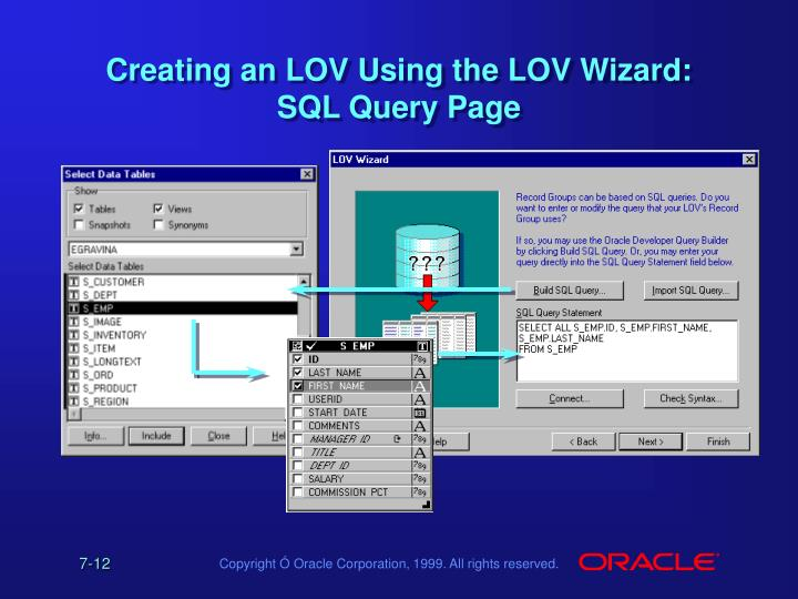 Creating an LOV Using the LOV Wizard: SQL Query Page