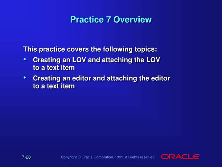 Practice 7 Overview