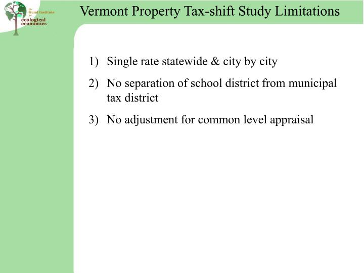 Vermont Property Tax-shift Study Limitations