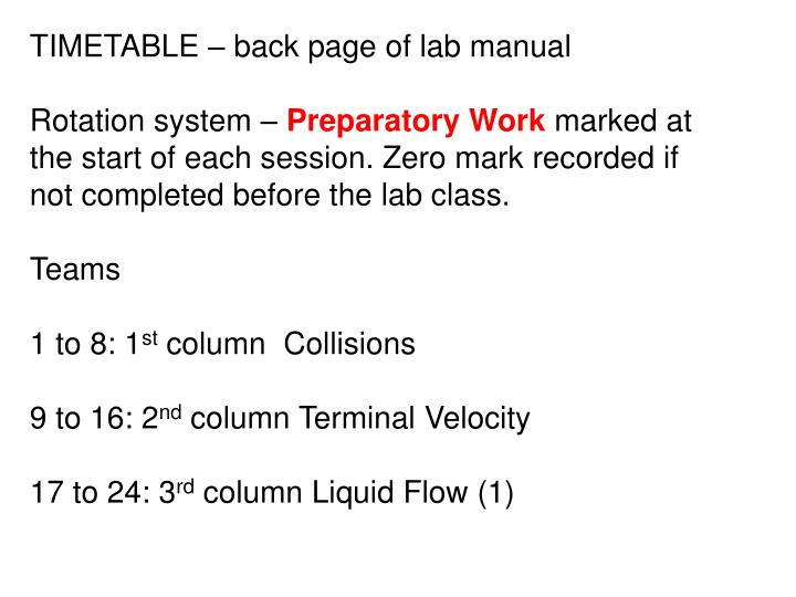 TIMETABLE – back page of lab manual