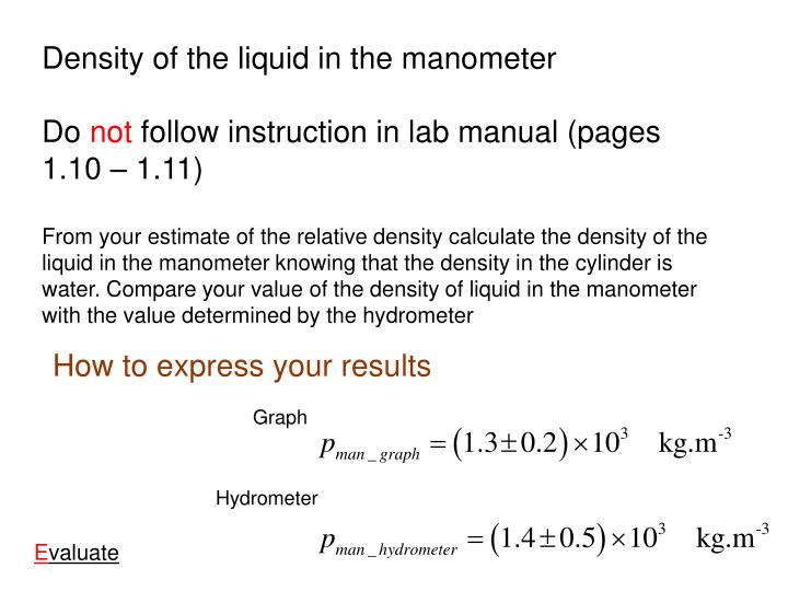 Density of the liquid in the manometer