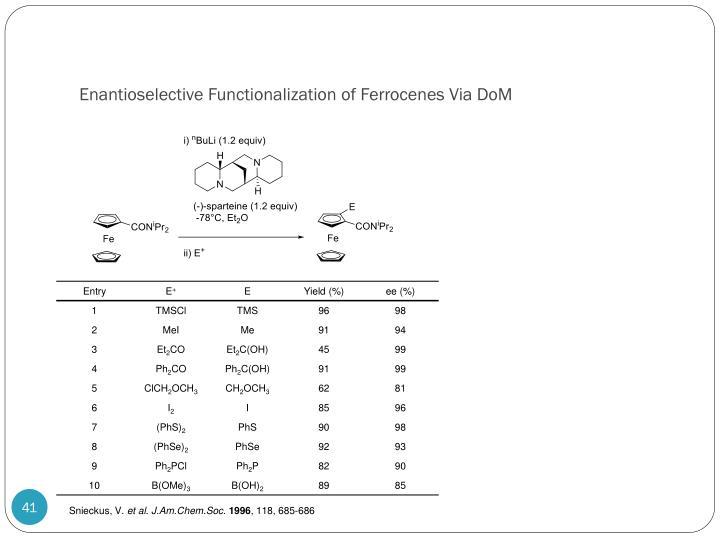 Enantioselective Functionalization of Ferrocenes Via DoM