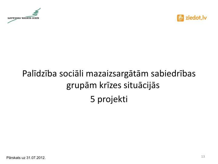 Palīdzība sociāli mazaizsargātām sabiedrības grupām krīzes situācijās