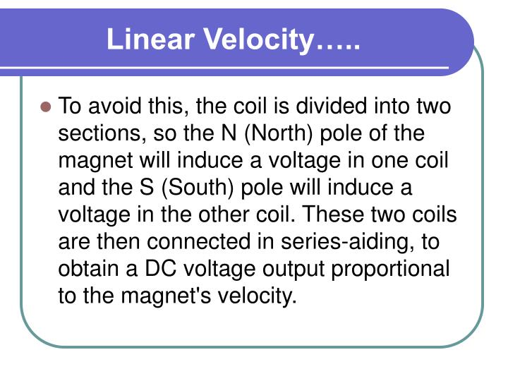 Linear Velocity…..