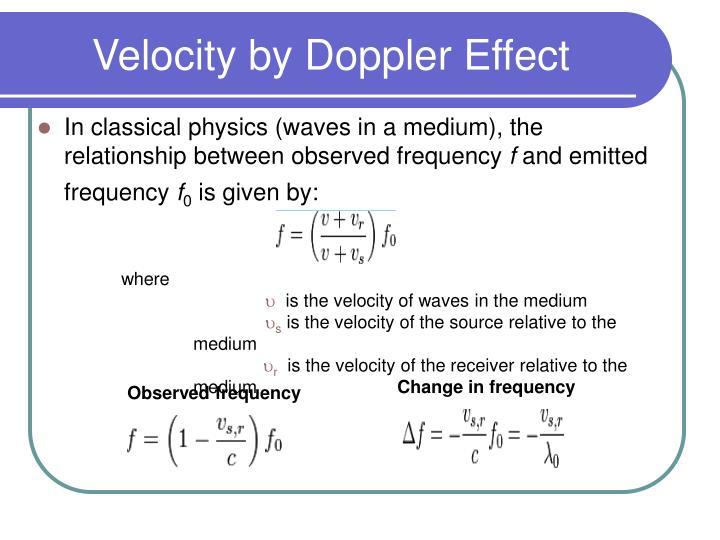 Velocity by Doppler Effect
