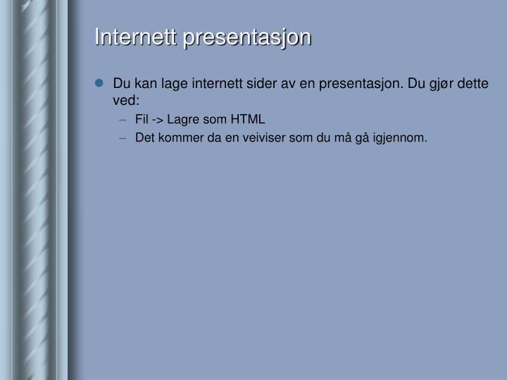 Internett presentasjon