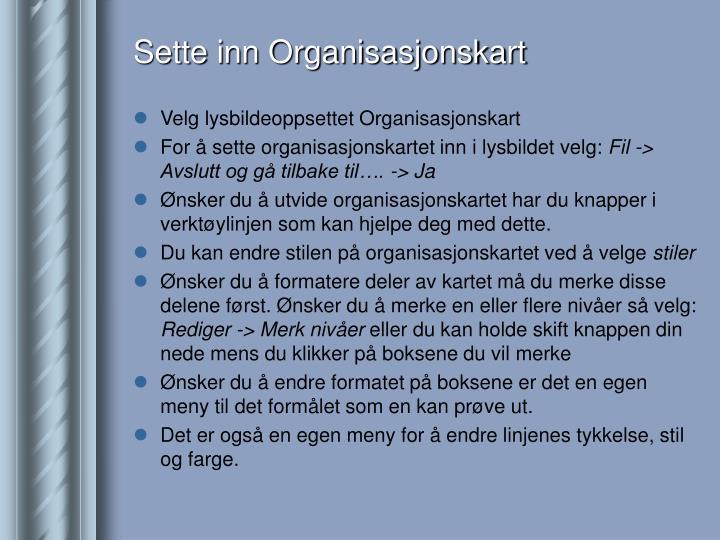 Sette inn Organisasjonskart