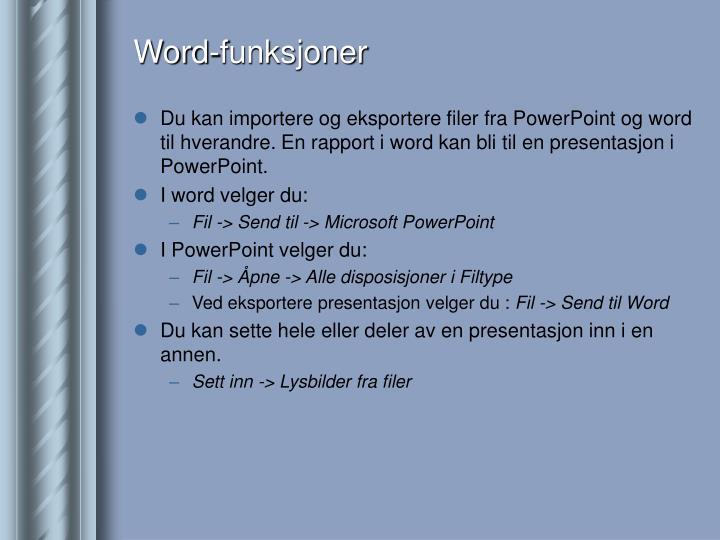 Word-funksjoner