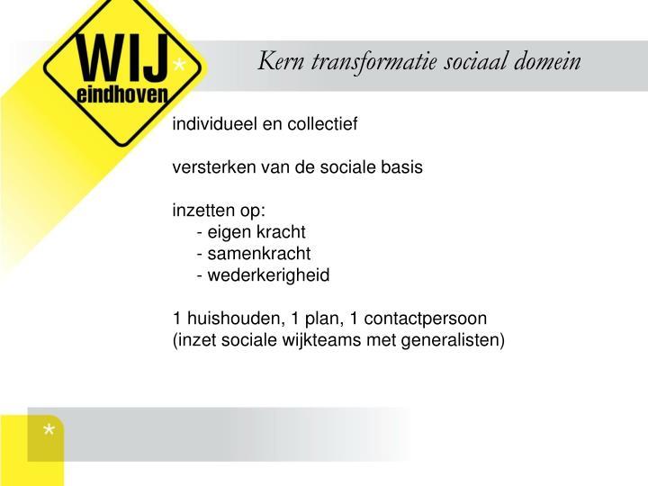 Kern transformatie sociaal domein