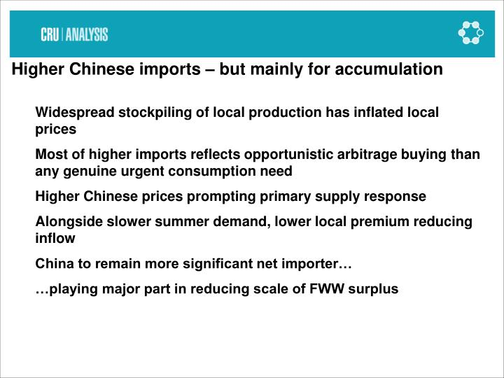 Higher Chinese imports – but mainly for accumulation