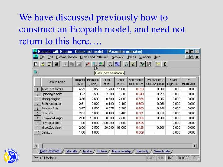 We have discussed previously how to construct an Ecopath model, and need not return to this here….