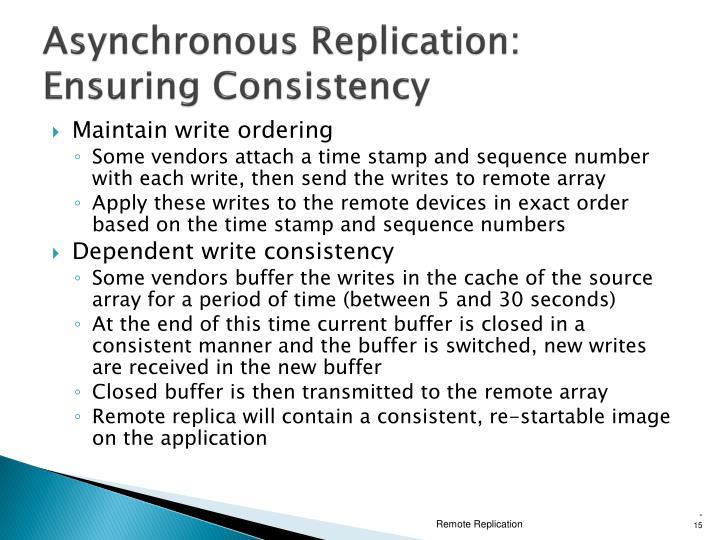 Asynchronous Replication: Ensuring Consistency