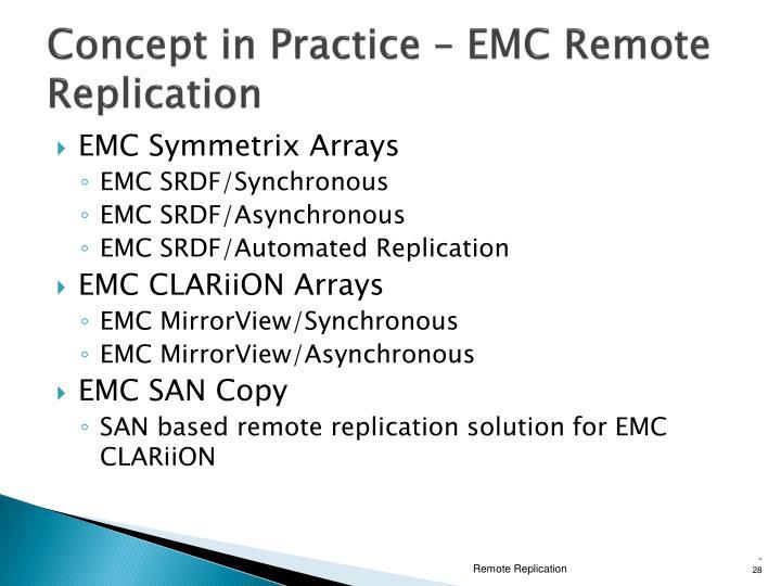 Concept in Practice – EMC Remote Replication