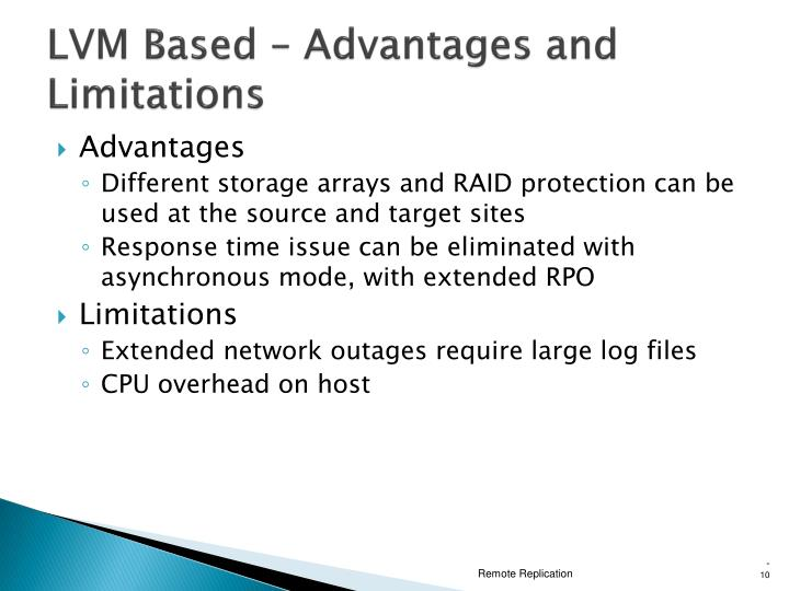 LVM Based – Advantages and Limitations