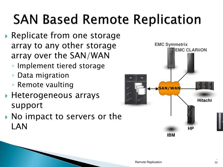 Replicate from one storage array to any other storage array over the SAN/WAN