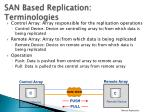 san based replication terminologies