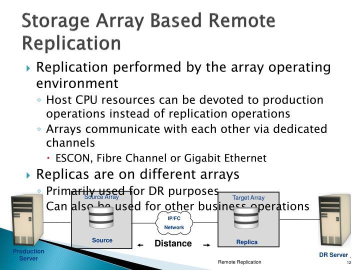 Storage Array Based Remote Replication
