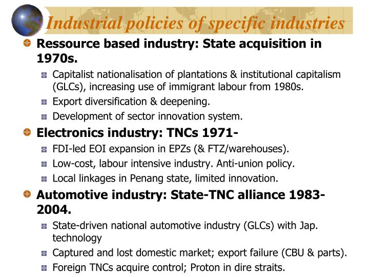 Industrial policies of specific industries