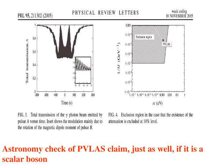 Astronomy check of PVLAS claim, just as well, if it is a scalar boson