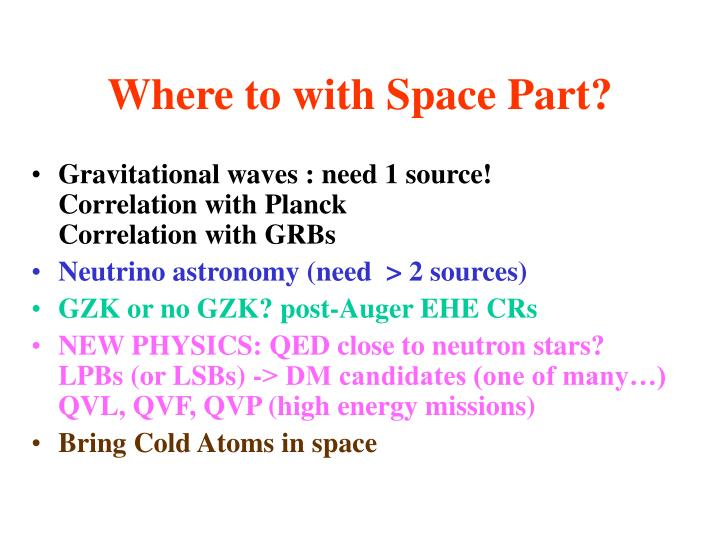 Where to with Space Part?