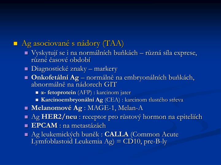 Ag asociované s nádory (TAA)