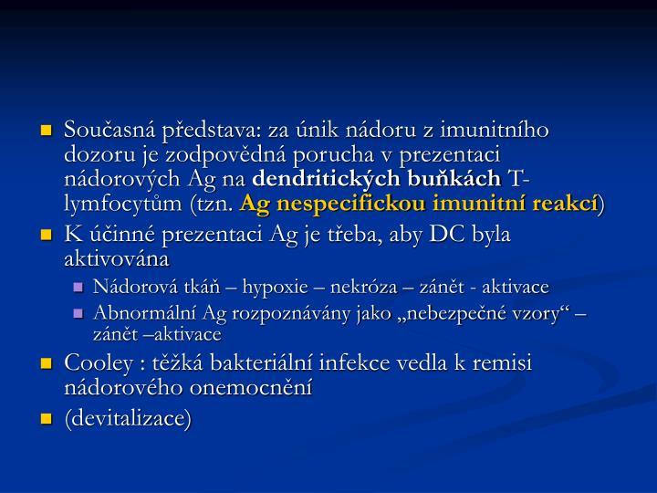 Současná představa: za únik nádoru z imunitního dozoru je zodpovědná porucha v prezentaci nádorových Ag na