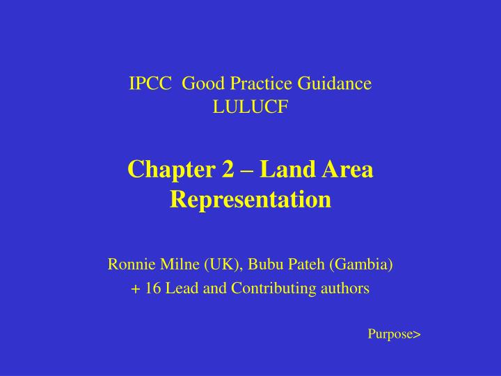 Ipcc good practice guidance lulucf